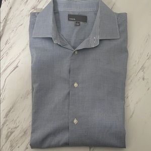 Vince dress shirt blue and white check